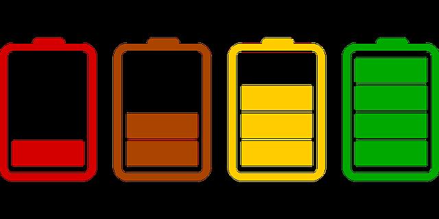 indikátory různého stupně nabití baterie